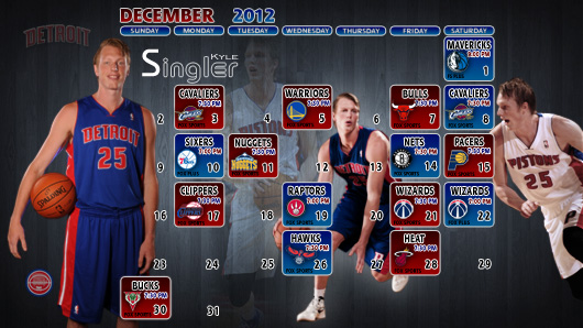 Kyle Singler December 2012 Detroit Pistons Schedule Wallpaper