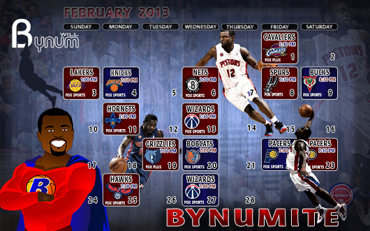 Andre Drummond January 2013 Detroit Pistons Schedule Wallpaper