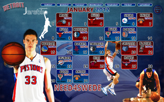 January 2012 Detroit Pistons Schedule Wallpaper