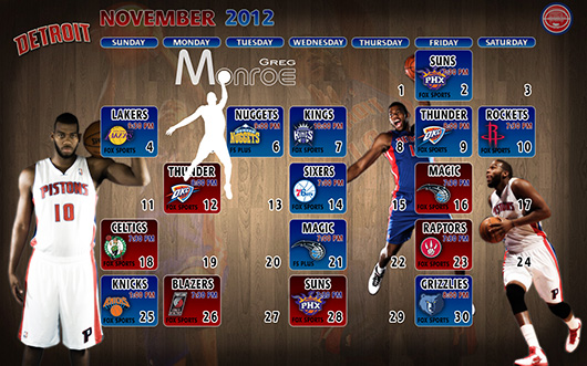 Greg Monroe November 2012 Detroit Pistons Schedule Wallpaper