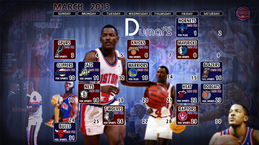 Joe Dumars Detroit Pistons March 2013 Schedule Wallpaper